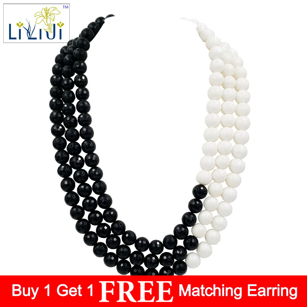 Lii Ji Black Agate Tridacna 925 Sterling Silver Necklace