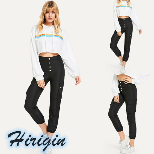 Summer Women Pants 2019 New Casual Womens Black Loose Ankle-Length Pants Button Fly High Waist Cargo pants