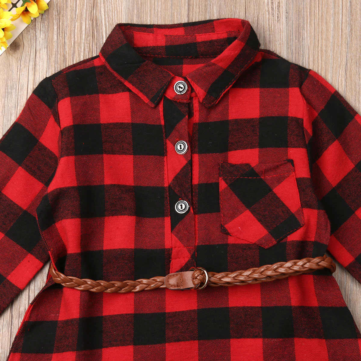 Toddler Baby Girls Plaid Outfit Ruffles Belted Botton Down Top Long Sleeve Blouses Kid Fall Shirts Clothes