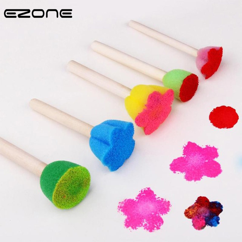 EZONE 5PCS Kids Sponge Graffiti Painting Brushes DIY Drawing Toys Kindergarten Early Educational Toy School Students Stationery