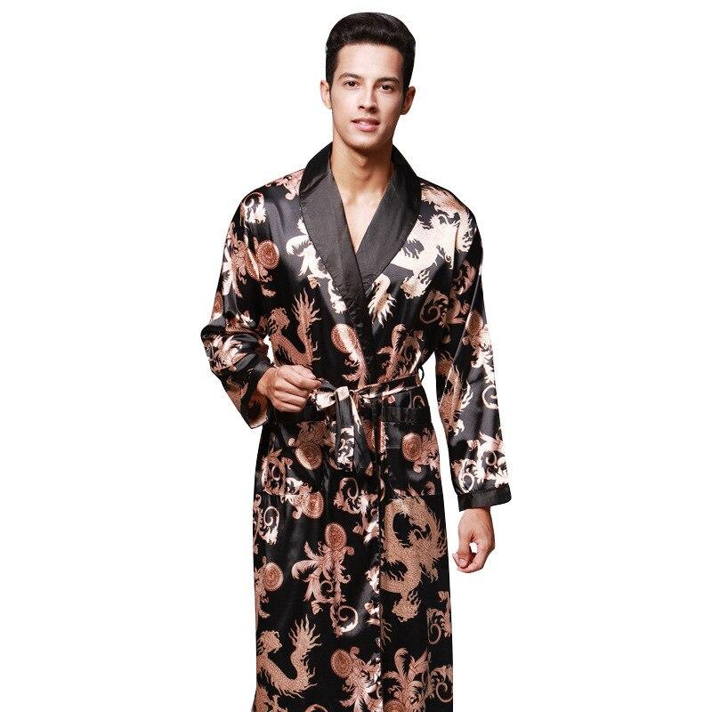 peignoir homme Autumn Long Sleeve Couple's Robe Male Bathrobes Silk Pajamas Men's Long Robes Home Service sleep lounge bathrobe