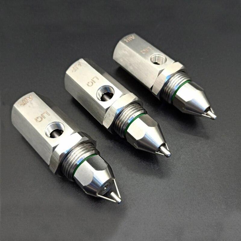 """1/4 """"조정 가능한 유량 ss304 초음파 공기 분무 노즐, 스프레이 앵글 가든 스프링클러, 분무기, 급수 키트 3 가지 유형-에서분무기부터 홈 & 가든 의  그룹 1"""
