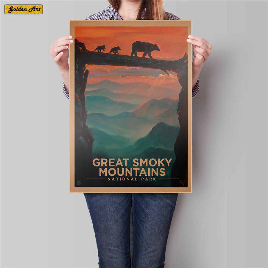 GREAT SMOKY MOUNTAINS NATIONAL PARK Vintage paper poster USA Travel retro wall art painting bar cafe print picture 45.5x31.5cm