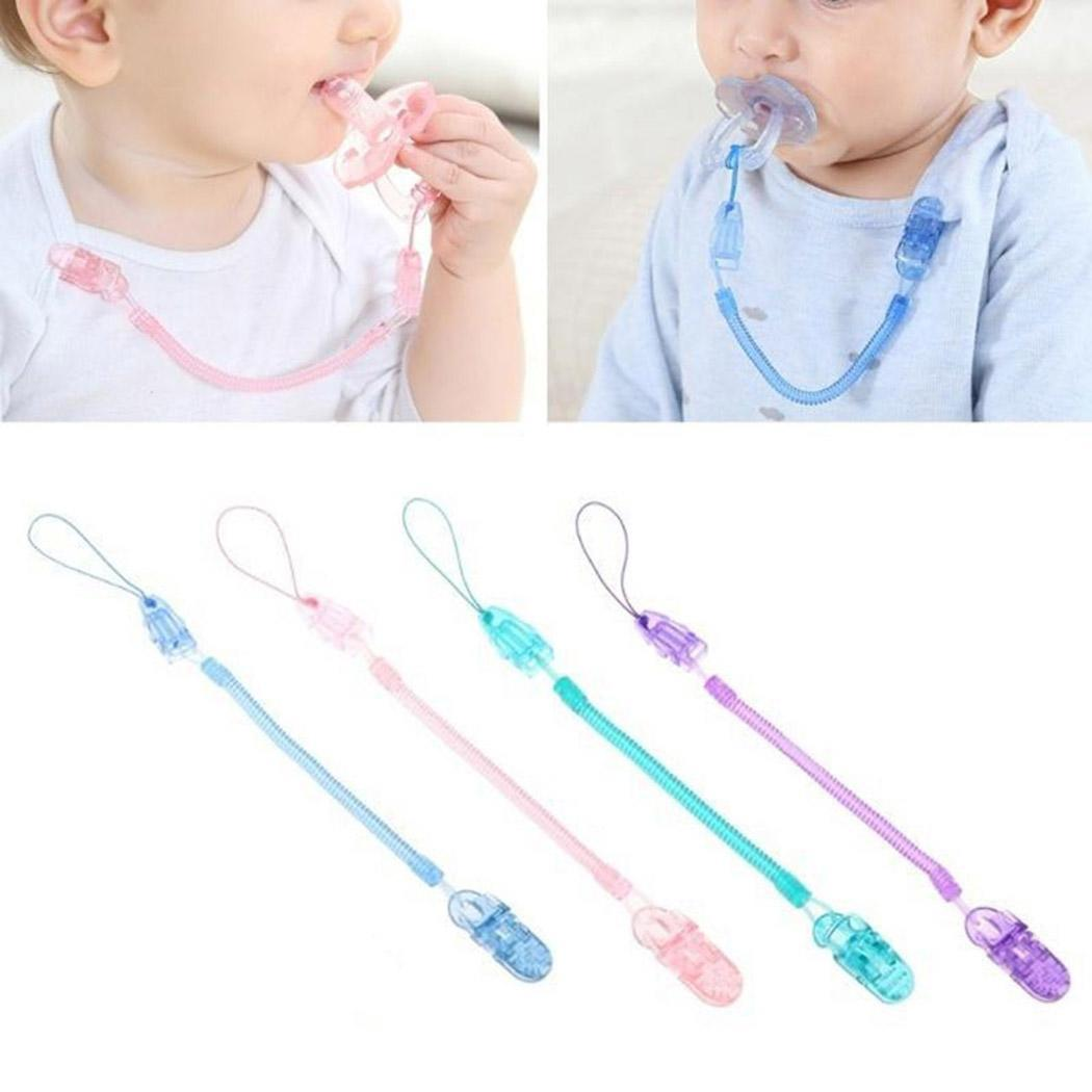 Baby Infant Toddler Dummy Pacifier Spring Soother Nipple Clip Chain Holder Strap