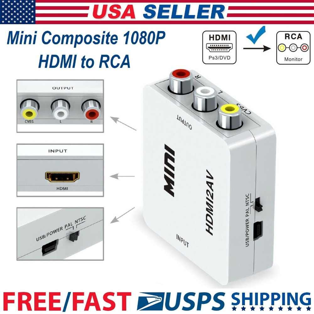 1080p mini hdmi to vga to rca av composite adapter converter with 3 5mm audio cable  [ 1000 x 1000 Pixel ]