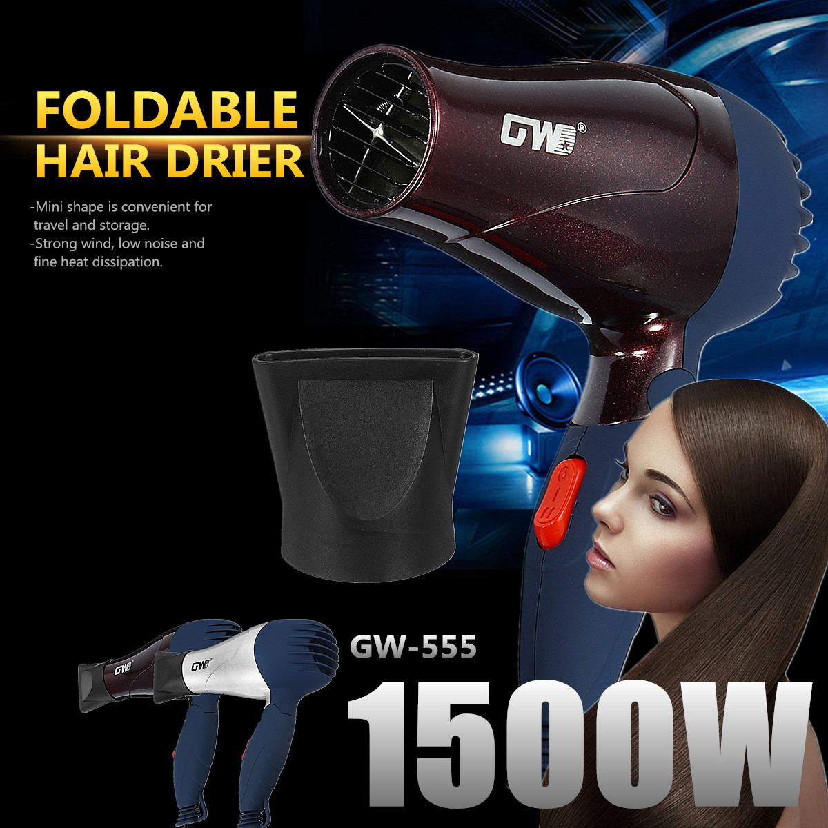220V 1500W Electric Household Foldable Hair Dryer Blower Styling Tool Traveller Strong Wind Low Noise Silver/Coffee Convenient220V 1500W Electric Household Foldable Hair Dryer Blower Styling Tool Traveller Strong Wind Low Noise Silver/Coffee Convenient