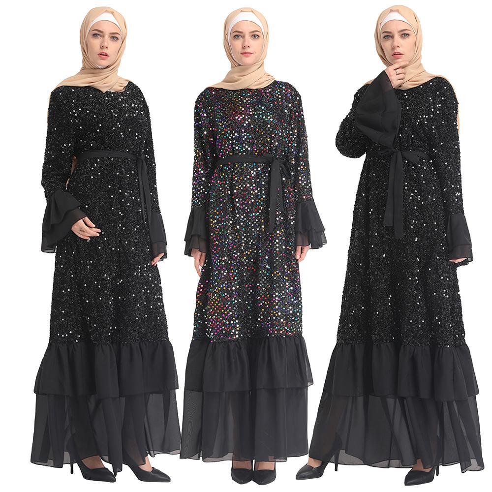 Sequin musulman robe Maxi Caftan Abaya turquie dubaï arabe Qatar Ramadan Caftan Elbise robe turque islamique vêtements Vestidos
