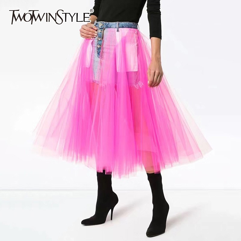 TWOTWINSTYLE Denim Skirts For Women High Waist Patchwork Mesh Midi Ball Gown Skirt Female Casual Fashion Korean 2020 Spring Tide