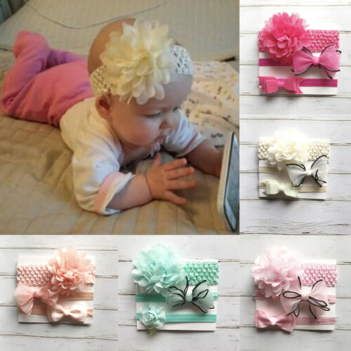 3pcs Baby Girls Solid Hair Bows Headbands Big Flower Hair Bands For Toddler