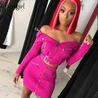 Slaygirl Off Shoulder Bodycon 2 Piece Set Women Long Sleeve Two Piece Set Strapless Skirt Club Women Set Ladies Outfit Summer