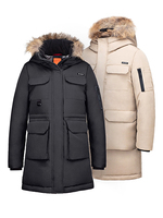 90FUN Outdoor Leisure Long Goose Down Jacket Warm and Breathable Seamless Waterproof Hiking Goose Down