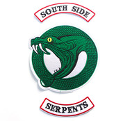 100 Pcs/lot RIVERDALE Green Snake Southside Serpents Patches Iron On Para Shirt Pocket Clothes Jacket Embroideried Badge