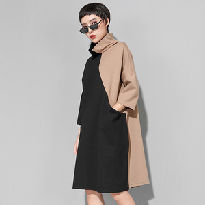 Image 4 - [EAM] 2020 nouveau printemps hiver col haut à manches longues Hit couleur ample grande taille sweat robe femmes mode marée JK399