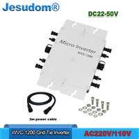 1200 ワットマイクログリッドタイインバーター純粋な正弦波出力入力 DC22-50V に AC180-260V 、 AC220/230/240 12v 防水 IP67 ソーラーインバータ