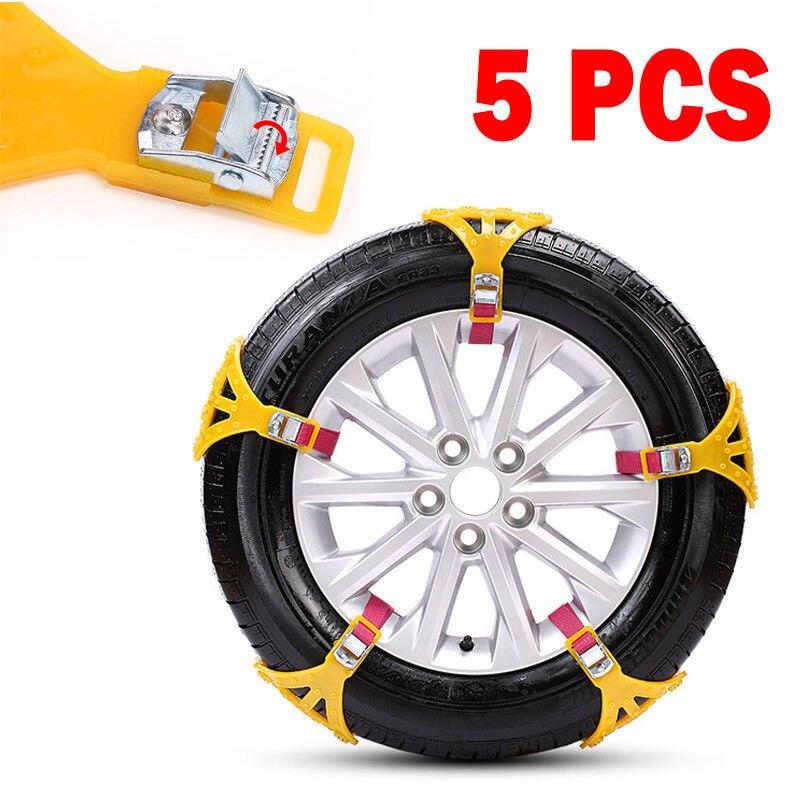 5 pièces universel voiture camion sécurité pneu roue anti-dérapant neige chaîne basse température
