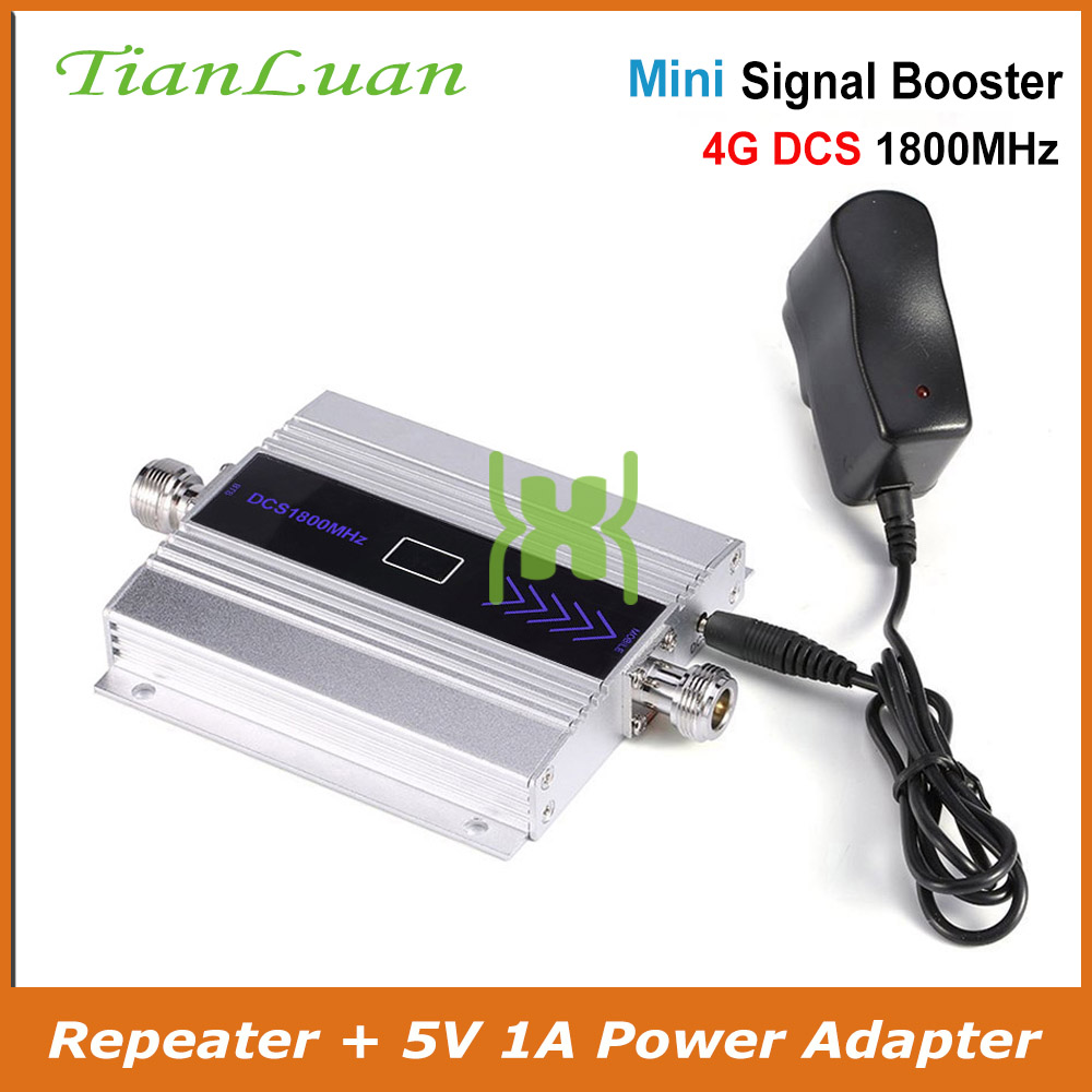 TianLuan mini DCS 1800 MHz móvil de señal de teléfono 2G 4G 1800 MHz repetidor de señal de teléfono celular amplificador con adaptador de corriente