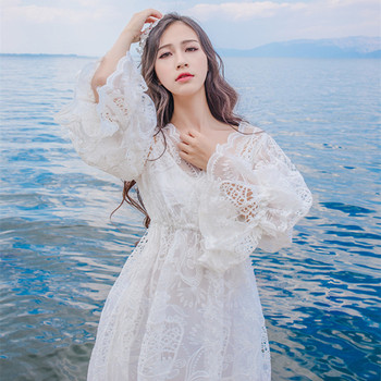 2019 summer women boho maxi dresses loose long sleeve sundress white lace dress long hollow out beach dress Summer Lace Dress Women Casual Hollow Out Long Maxi Dresses Femme Sexy V-Neck Wrist Sleeve Bach Party Vestido