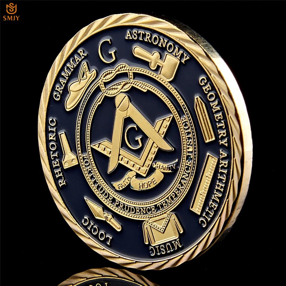 Euro Masonic Association Under A Brotherhood Of Man The Fatherhood Of God Gold Plated Token Challenge Commemorative Coin 4