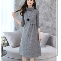 2018 Autumn New Women Soild Warm Dress Wool Blend Dresses Long Sleeve Turtleneck Winter Dress