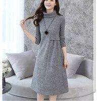 2018 Autumn New Women Soild Warm Dress Wool Blend Dresses Long Sleeve Turtleneck Winter Dress