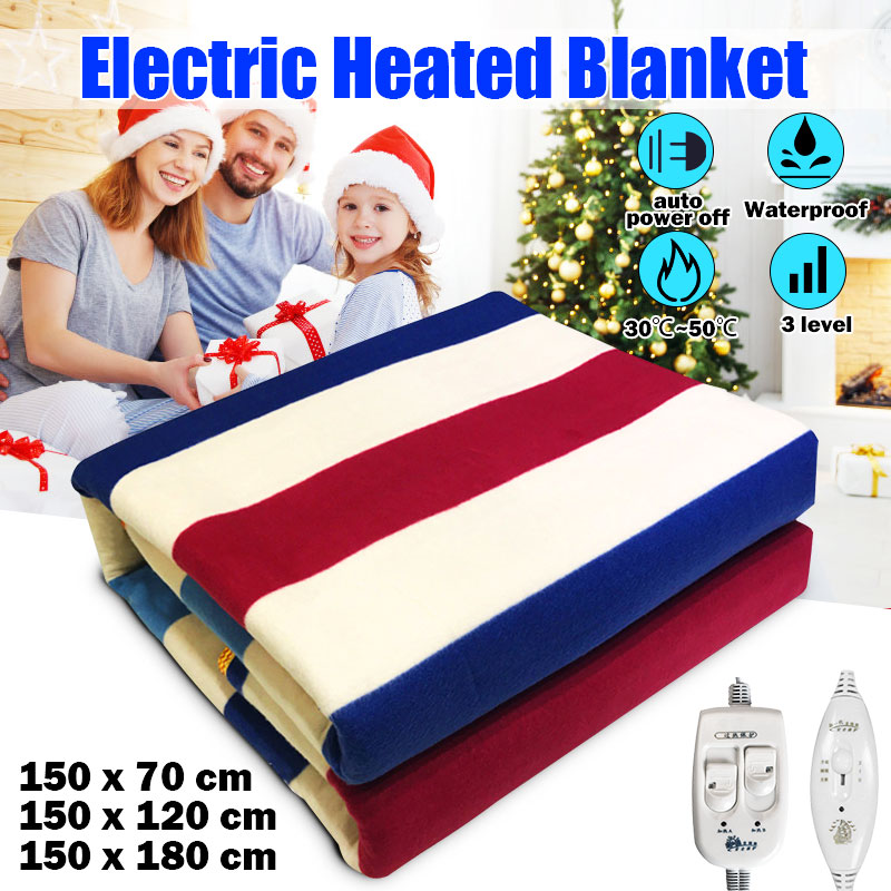 Electric Blanket Heater Body Warming 150x70cm 3 Gears Temperature Control Thicker Heated Blanket Stripe Blanket Electric Heating inflatable