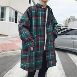 2018 осень-зима корейский Для мужчин Повседневное свободные решетки тонкий шерстяной камвольной длинные пальто Стенд воротник плед пальто