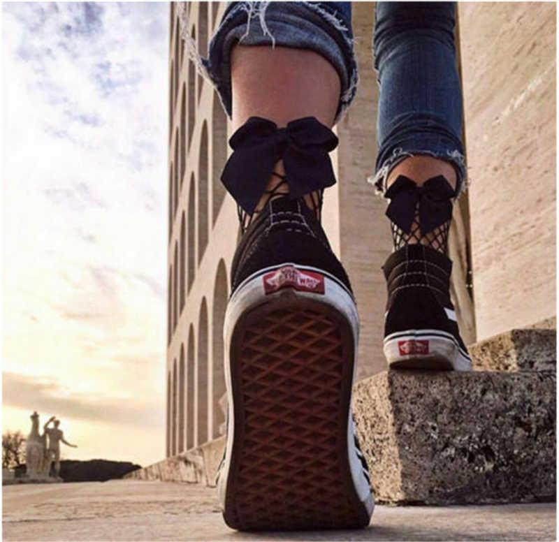 メッシュネット靴下中空アウトボウノットファッションガール網膝高靴下女性レースメッシュショート女性靴下かわいい