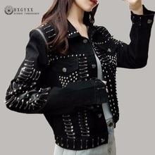 Rosetic Gothic Rivet Pins Women Denim Jacket Streetwear Turn Down Collar Casual Clothes Black Short Coat Bomber Jacket Okd800
