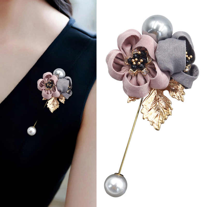 Shirt Graceful Brooch Shawl Exquesite Wedding Jewelry Accessories 1PC Party Cloth Art Pearl Fabric Flower Cardigan Gifts Ladies