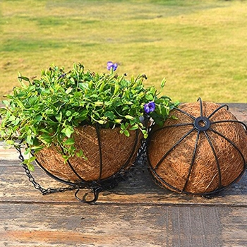 Hanging Basket For Plants Garden Flower Planter With Chain Plant Pot Home Balcony Decoration 2 Pcs-8 Inch