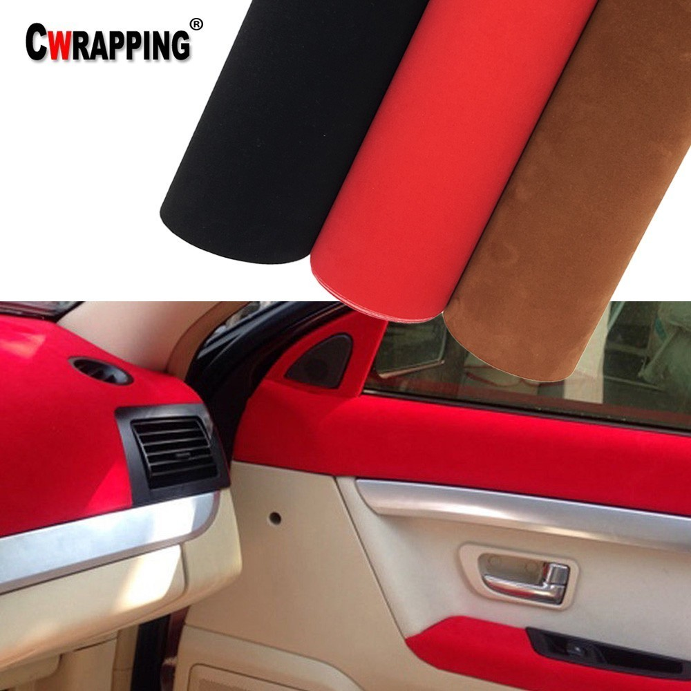 30*152 Cm Premium Kwaliteit Fluwelen Suède Stof Materiaal Auto Wrap Sticker Zelfklevende Film Voor Auto Interieur/ exterieur Auto Styling