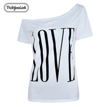 Pickyourlook Women Tshirt And Tops Summer Short Sleeve Ladies Tee Shirt Love Letter Printed Casual Female Tops T-Shirt Camicette недорого