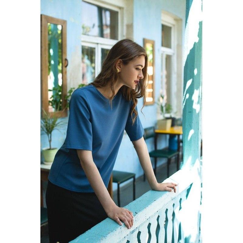 T Shirt C.H.I.C female CHIC TmallFS summer chic round collar short sleeve striped cut out t shirt for women
