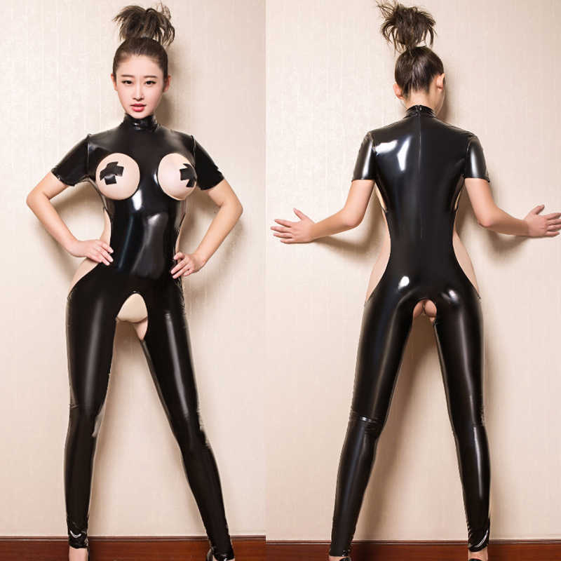 Latex Body Femmes CLUB Costume Crotchless Pieds Combinaison