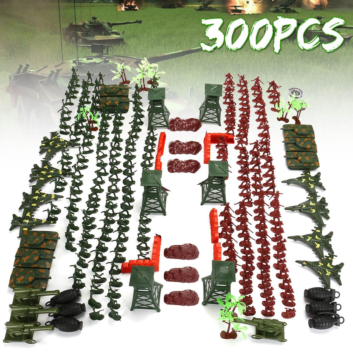 Cheap Sale 300pcs/set Plastic Assemble Soldier Kits Diy World War Ii Model Puzzle Assembling Military Sand Table Toys 2019 New Arrival Toys & Hobbies Model Building Kits