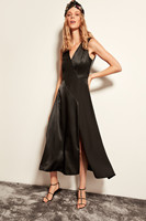 Trendyol Detailed Slit Black Satin Dress TPRAW19FZ0241