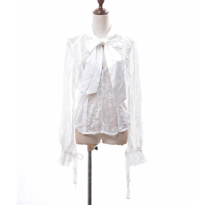 Shirt Encaje Espalda Black Ropa Blusa Hueco Linterna white Las Mujeres Camisa De Sexy Moda Tops Manga L242 Fuera Sin Bowknot Otoño Shirt 15vvqU