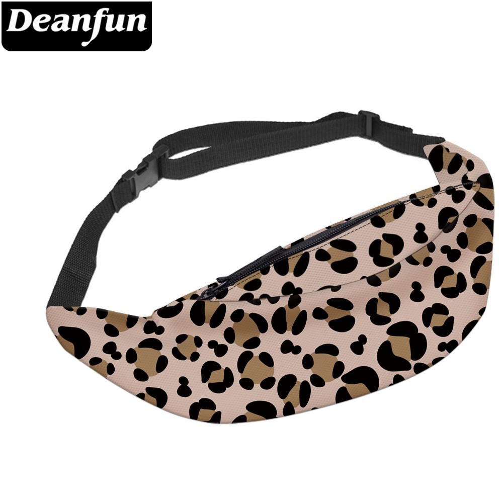 Deanfun Leopard Pattern Fanny Pack for Women Soft Polyester Water Resistant Adjustable Waist Pack Travel YB 73 in Waist Packs from Luggage Bags