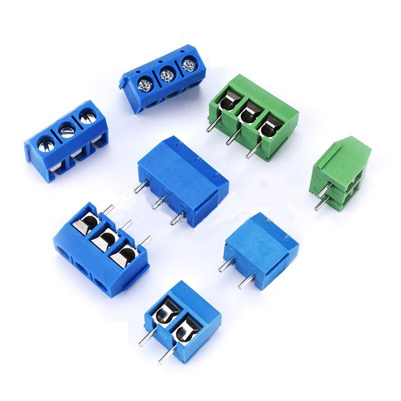 10Pcs/lot KF301-5.0MM 2P KF301-3P Pitch 5.0mm Straight Pin 2P 3P 4P Screw PCB Terminal Block Connector Blue Green