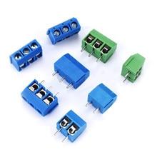 Nova 10 Pçs/lote KF301-5.0MM 2P KF301-3P Pitch 5.0 milímetros Alfinete 2P 3P 4P Parafuso PCB Terminal Block Conector Azul Verde