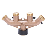 2PCS 3/4 garden hose connector American 4 way ball valve Water flow regulator brass construction Garden adjusting value