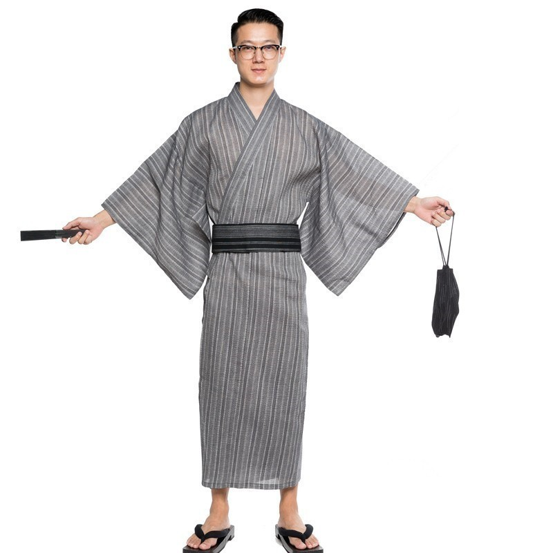 Men Kimono Bathrobe Yukata Long Breathable Pajamas Summer Japanese Style Household Cotton Robe A9089