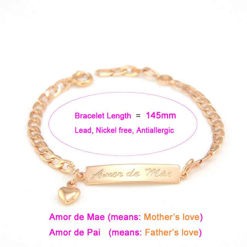 אמא של אהבת תינוק צמידי זהב ילדים תכשיטי הטבלה Armband Pulseira Bebe בנות בני Bileklik Branzoletki Dzieci B01Mae