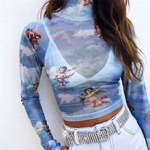 New Fashion Women See-through Sheer Mesh Fishnet T-Shirt Crop Top Cute Angel Printed Female Summer Mesh Tops(China)