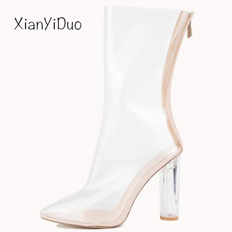 Xianyiduo fashion Womens Shoes boots Party mid-calf Zipper super High Heel Sexy plus size 40-43 transparent heel Clear /m291Xianyiduo fashion Womens Shoes boots Party mid-calf Zipper super High Heel Sexy plus size 40-43 transparent heel Clear /m291