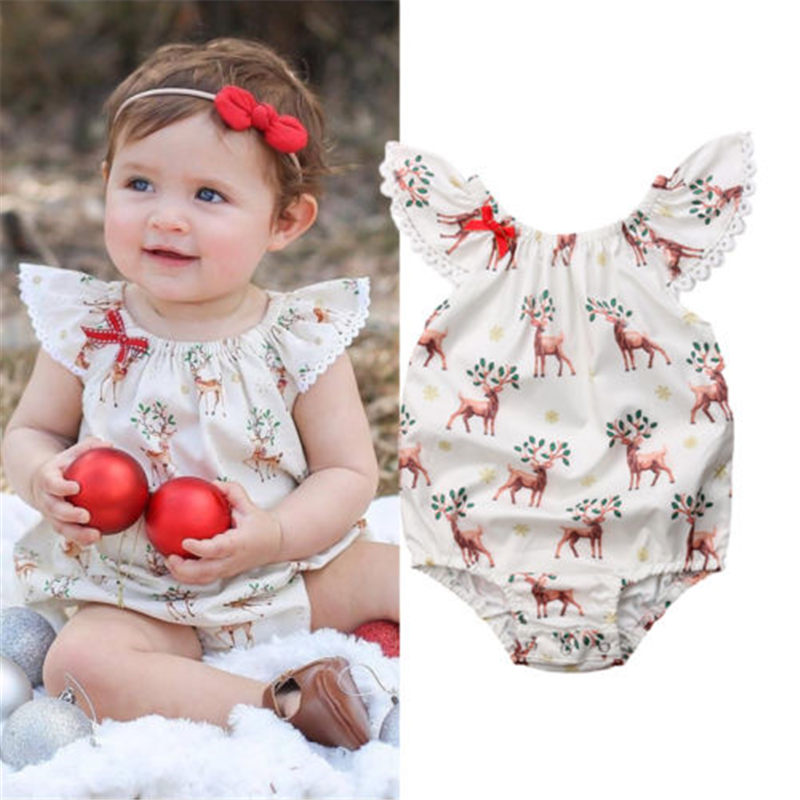 Emmababy Hot Sale Newborn Baby Girls Xmas Deer Christmas   Romper   Leisure Comfort Outfits Kids Clothing Party Outwear Clothes Gift