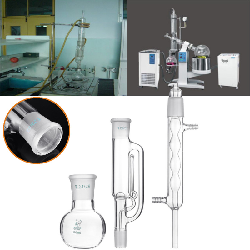 60ml Lab Chemistry Glass Soxhlet Extractor Condenser Set With 24/29 Flat Bottom Flask 225MM 29/32 Tube Lab Glassware Kit