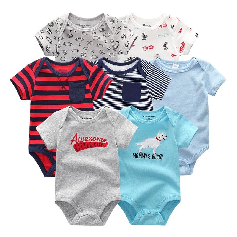 Image 4 - 7 шт./лот, 2019, детские комбинезоны, одежда для девочек, одежда для новорожденных, хлопковая одежда для маленьких мальчиков, комбинезоны, Ropa bebe, комбинезон с короткими рукавами для новорожденных 0 12 месяцевРомперы   -