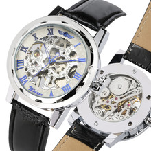 Skeleton Mechanical Men Watch Roman Numerals Display Genuine Leather Wrist Watches for Men Hand Winding Business Style Clock цена