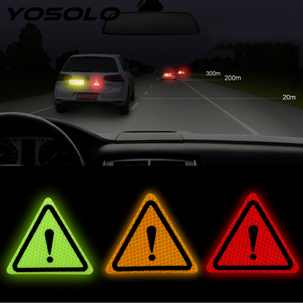 YOSOLO Bumper Decals Paster Universal Reflective Warning Sticker Triangle Warning Label Motorcycle Car Body Auto Decor